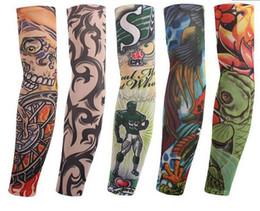 Vente en gros Multi style 100% élastique en nylon Faux tatouage temporaire manches design corps Tatouage bas de bras pour hommes hommes cool Livraison gratuite