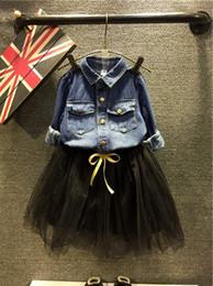 Wholesale 2016 New Jeans Set Children Outfits Jeans Shirt Tutu Skirt Long Sleeve Kid Girl Clothing Sets ES7321