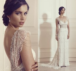 Wholesale Cap Sleeves Anna Campbell Lace Low Back Wedding Dresses Crystal Ruched Beach Wedding Dress Bling Beading Court Train Bohemian Bridal Gowns