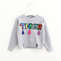 Wholesale 2016 Babies Knit Tassel Sweaters Kids Girl Sequined Letter Fashion Pullover Girl Autumn Korean Jumper Tops children s Christmas clothing