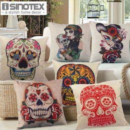 45x45cm 17 7x17 7 Linen Cushion For Decorative Sugar Skull Printed Decorative Cushion Home Decor