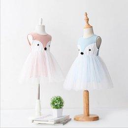 Wholesale Girls Princess Dress for Kids Clothes Summer Sleeveless Lace Tutu Dress Korean Fashion Cotton Cartoon fox Dress MK