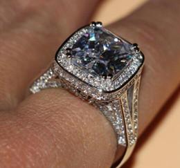 wholesale free shipping fine 8ct big stone white sapphire 14kt white gold filled gf simulated diamond wedding engagement band ring - Big Diamond Wedding Rings