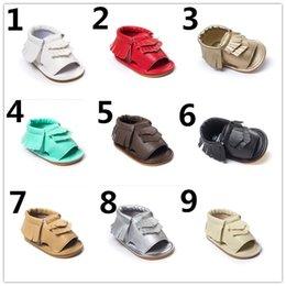 Wholesale DHL EMS Seven Harper Style Baby PU Leather Shoes Moccasins Soft Shoe Open Toe Handmade Sandel Tassel Toddler Prewalker For T K7044