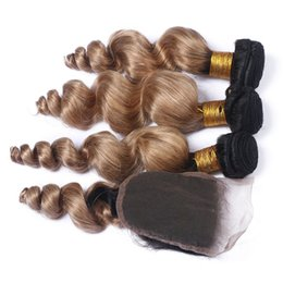 Discount ombre brazilian loose wave closure Honey Blonde Brazilian Human Hair 4*4 Loose Wave Lace Closure With Hair Bundles Ombre #1B 27 Hair Loose Curly Hair Extensions For Woman
