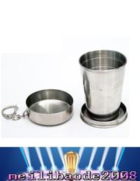 NUEVO Tamaño: Llavero de cristal L Vino plegable Copa Frascos de la cadera acero inoxidable taza escalable recipiente para beber whisky extensible borracho MYY