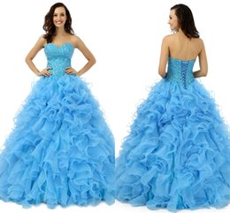 Wholesale 2016 Véritable image Meilleur Arrivée Sweethart Ball Gown Beaded Tulle Quinceanera Robes Pagent Elegant Birthday Girl Prom Party Robes