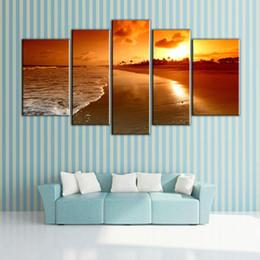 Sea Sunrise Landscape Paintings Canvas Oil Printing Beautiful Simple Decoration Wall Scenery Paintings For House Simple House Decorations On Sale