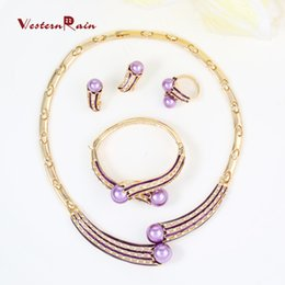 Wholesale WesternRain Latest Beautiful Gold Costume Jewelry Set Accessories for Women Dress K Gold Plated Party purple Pearl Fashion Jewelry A097