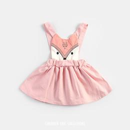 Wholesale 2016 Summer Sweet Kids Girls Fox Sundress Embroider Halter Pink Dress Sweet Baby Kids Cartoon Cute Dress