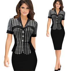 Wholesale Spring summer new bodycon dress plus size women clothing plaid button slim sexy elegant peplum pencil dresses splice midi dress