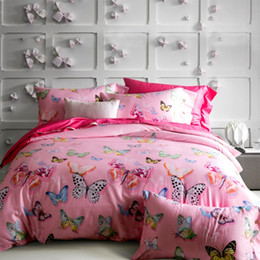 Luxury Pink Color Butterfly Printed Queen King Size Long Staple Cotton  Bedding Set Duvet Cover Set
