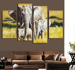4 Ppcs Elephant Painting Canvas Wall Art Picture Home Decoration Living Room Canvas Print Modern Painting Large Canvas Unframed
