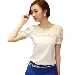 Wholesale blusas S XXL Camisas Blusas Femininas Women Tropical Blusa Lace Short Sleeve Shirt V Neck Doll Chiffon Tops Women Blouses A727