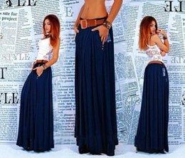 Wholesale Dark Blue Pleated Skirt Women Long Skirts With Pocket Side Zipper Maxi Skirt E112