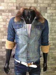 Wholesale Super Warm Thicken Fleece Denim Jacket Homens Casual Inverno Azul Sólido Algodão Lavado manga comprida Jeans Casacos Style M XXL