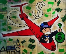 2017 airplane panel on Airplane,Pure Handpainted Alec Monopoly Cartoon & graffiti Pop Art oil Painting Canvas Museum Quality any coustomized size Available