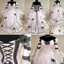 Wholesale Unique White and Black Celtic Wedding Dress Off the Shoulder Long Sleeves Appliques Corset Bridal Gowns High Quality Custom Made Bride Wear