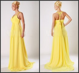 Wholesale Dresses Long Prom Crystal Beading Cheap Teen Pageant Dresses High Quality Evening Dress Yellow Chiffon Gown Sparkling Prom Dresses