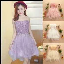 Wholesale In Stock Short Homecoming Dresses Lace Applique Beaded Strapless Backless Cheap Prom Party Gowns Under