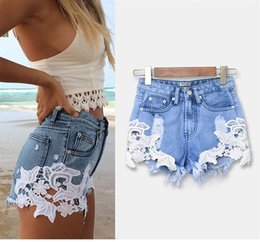 lace floral pattern patchwork ripped shorts denim high waist hotpants jeans trousers plus size for woman women