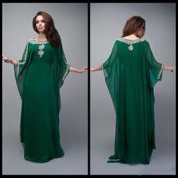 Wholesale 2016 Dark Green Caftan Evening Dresses Long Dubai Muslim Kaftan Abayas Arabic Turkish Evening Robe Abayas for Woman Islamic Clothing
