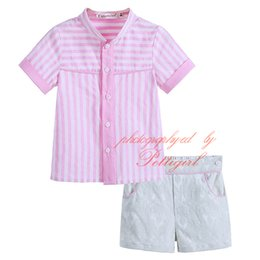 Wholesale Cutestyles Infant and Toddler Boys Boutique Summer Clothing Set Striped Tops With Buttons Solid Shorts Baby Casual Wear B DMCS906