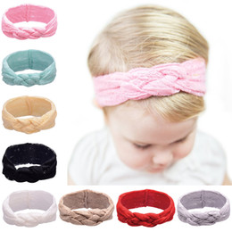 Wholesale Baby Headbands Colors Lace Elastic Headband for Girls Hair Braided With Childrens Safely Cross Knot Hair Accessories Head Wrap Headwear