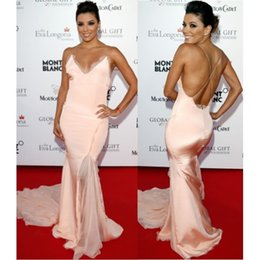 Wholesale Eva Longoria Blush Pink Sexy Backless Red Carpet Long Evening Dresses Spaghetti Straps Mermaid Celebrity Dresses