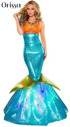 Wholesale el envío al por mayor libre de adulto Dulce sirena traje del vestido de lujo del traje atractivo del cuento de hadas para mujer de Ariel