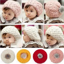 67316226239 Baby hats Pom poms pink knit hat girls boys beanie winter toddler kids boy  girl faux warm crochet cap 1-6years children s