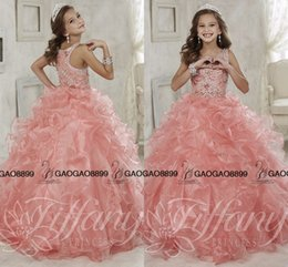 Wholesale Gorgeous Beaded Crystal Girls Pageant Dresses first communion dress for girls ball gown little girls pageant prom gowns