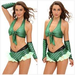Wholesale Nuevo diseño princesa traje de carnaval verde de Halloween de la sirena del halter atractivo del sujetador de Falbala Los pantalones cortos y Sleevelet Cosplay Set para las mujeres