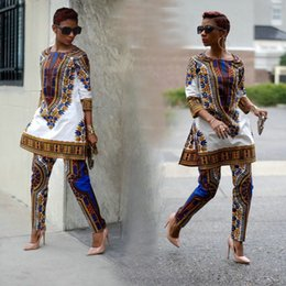 Wholesale 2016 New African fashion design Dress Suit S XXXL Plus Size Womens Traditional Print Dashiki National Half Sleeved Two Pieces Set Jumpsuits