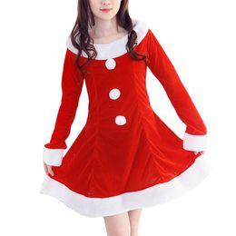 Женщины Девушки Рождество Косплей костюмы Платья Санта-Клаус Тематические костюмы девочек Полное рукава платья Свободная перевозка груза DHL
