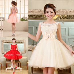Wholesale Tulle Lace Short Prom Dresses Evening Dress Girl Lovely Club Prom Party Gown Bow Red Champagne Skin Pink Vestidos De Noche