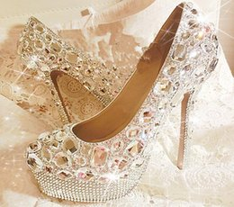 Wholesale Luxurious Glittering Crystal Rhinestone Heels Wedding Shoes Custom Made Size High Heel Bridal Shoes Party Prom Women Shoes