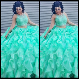 2017 New Fashion Two Pieces Ball Gowns Crystals Mint Blue Quinceanera  Dresses for Sweet 16 Years Vestido De 15 Anos f76accd93101
