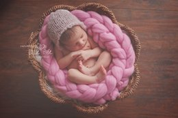 Wholesale Newborn M Wool Twist Rope Photo Props Backdrop Background Baby Photography Prop Handmade Crochet Knitted Costume