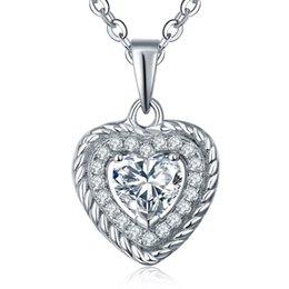Dancing Diamond Style 925 Colliers coeur en argent sterling pour les femmes avec Zircon cubique pour les colliers de mariage avec la chaîne 42 + 3MM DP10910A