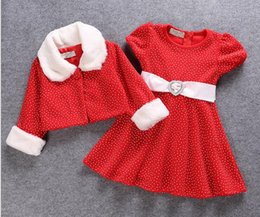 Wholesale 2016 red Christmas clothes two pieces suits Dress cape Winter cotton short sleeved dress Plush white long sleeved jacket baby clothes E440