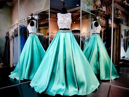 Wholesale 2016 White Mint Two Piece Ball Gown Prom Dresses Beaded Lace Jewel Neck Sleeveless Bodice Formal Gowns VC Satin Skirt With Pockets