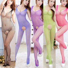 Wholesale Women s Girl s One piece Lingerie Sexy Set Underwear Fishnet Mesh Free Size Open Crotch Bodysuit Intimate Nx103