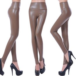 Wholesale Women leggings faux leather high quality slim leggings plus size High elasticity sexy pants leggings XS L Leopard print Leather leggings