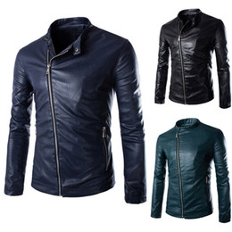 Discount Blue Leather Bomber Jacket | 2017 Blue Leather Bomber ...