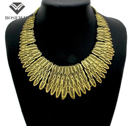 Wholesale Fashion Vintage Chokers Leaf Necklaces Multi Chains Metal Women Dress Accessories Statement Jewelry CE4057 party dress jewelry