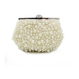 Wholesale Bridal Clutches Cream Bridesmaid Clutches with Pearls Floral Rose Bridal Hand Bags Evening Prom Wedding Cocktail Clutches with Chain