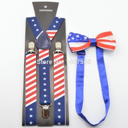 Wholesale New Fashion Women Unisex American flags Elastic Braces And Bow Tie Sets Mens