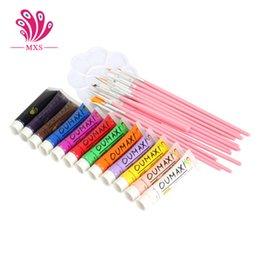 Wholesale DHL Free set Colors Acrylic Nail Art Painting Pigment Brushes Pen Palette Dish Kit