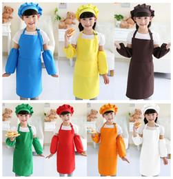 Delantales de los niños de bolsillo Craft Cocina Pintura del arte de la hornada de la cocina comedor Bib Niños Niños Delantal delantales de los niños de 10 colores liberan A-0380